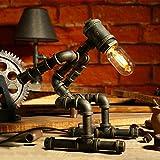 LILY LDE Weinlese-industrielle Tabellen-Lampen-rustikale Stahlwasser-Rohr-Art-Schreibtisch-Lampe, Steampunk bearbeitete Eisen-Unterseite Antike Tabellen-Lampe für Bedside Schlafzimmer-Stab-Café E27 ( Color : C )