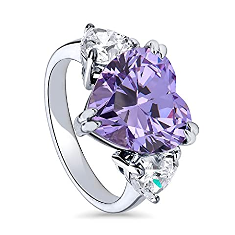BERRICLE Rhodium Plated Sterling Silver Heart Shaped Cubic Zirconia CZ Heart 3-Stone Ring Size J