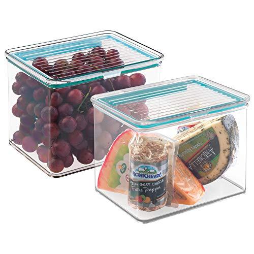 mDesign Juego de 2 envases plásticos para alimentos con tapa hermética –...