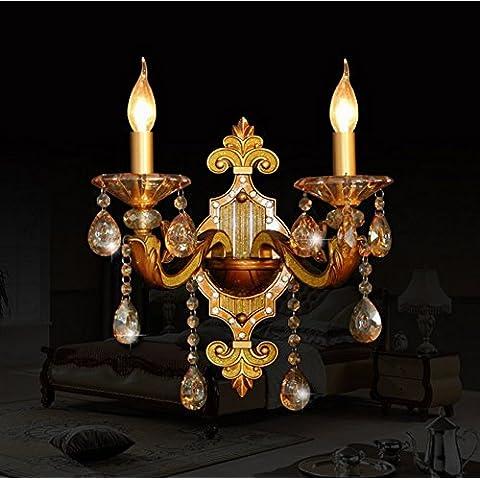 Europea-doppia parete lampada lampada da comodino soggiorno camera da letto corridoio parete della moda classica creatività scale lampada a cristallo,C