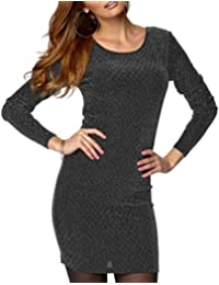 TopsandDresses Ladies UK Plus Size Black and Silver Stretchy Dress or Long Top