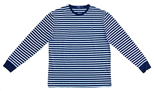 Ralph Lauren Langarm T-Shirt Stripe Long Sleeve Blau Weiß Gestreift Classic Fit (XL) - Ralph Lauren Shirt, Classic-fit