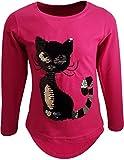 Katze Mädchen Langarm Wendepailletten T-Shirt Bluse Long Shirt Pullover Pulli (Pink, 134)