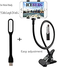 Iceberg Makers.In combo of Premium Upgrated Metal Universal Flexible Long Arm Mobile Holder Stand Clamp and USB LED Light Handfree tool for any Desk or Kitchen and Bedroom