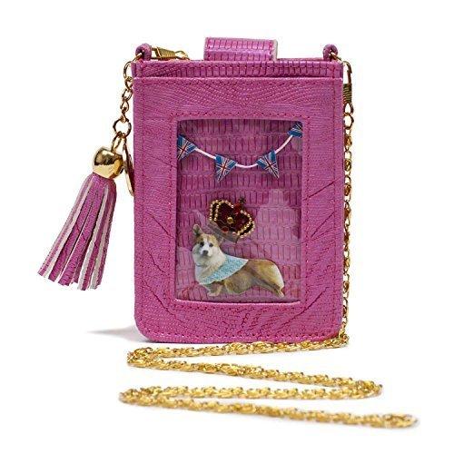 Picture Pocket Clippy London Mini Pink Handytasche Fun and Stylish Mock Croc Design Goldkette und transparente Kunststofftasche für 1 Foto -