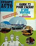 EUROPE AUTO [No 61] du 01/04/1972 - numero special - guide 72 pour l'achat d'une voiture neuve ou d'occasion...
