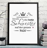 BESTE SCHWESTER / BESTER BRUDER persönliches Geschenk für Schwester oder Deinen Bruder zum Geburtstag oder als Danksagung - Rahmen optional