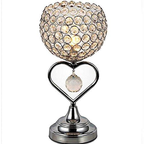 TRADE® Kristall Tischlampe Chrom Finish Metall Basis Dekorative Raum Licht mit K9 Kristall Herzförmige Schreibtisch Lampe für Hochzeit Dekoration Esstisch (Silber) -