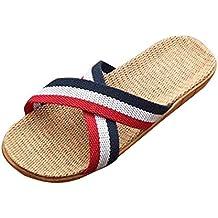 DEELIN Mujeres Hombres Antideslizante Lino Hogar Interior Verano Abierto Toe Zapatos Zapatillas