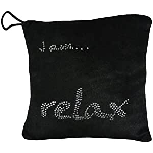 Promobo -Mini Coussin à Suspendre Bling Bling Strass Inscription Iam Relax Noir