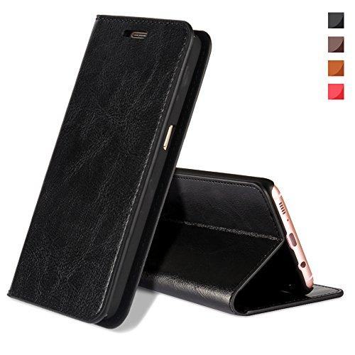 EATCYE Coque Galaxy S8,Housse Galaxy S8, Premium Étui [en Cuir Véritable] [Antichoc TPU] Cuir Housse à Rabat [Fermoir Magnétique] pour Samsung Galaxy S8 (Noir)