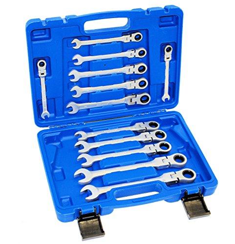 12-tlg. Gelenk Ratschenschlüssel-Satz Maulschlüssel-Sets Chrom-Vanadium-Stahl in Profi-Qualität
