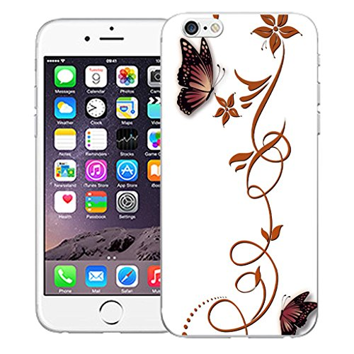"Nouveau iPhone 6 4.7"" inch clip on Dur Coque couverture case cover Pare-chocs - cheerful floral Motif avec Stylet butterfly vine"