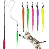 Diealles Interaktives Katzenspielzeug, Einziehbare Natürliche Federstab Katze Spielzeug mit 5 Stück Katzenangel Ersatz Wurm Katzenspielzeug