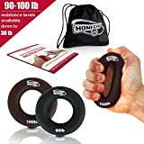 2 in 1 Handmuskeltrainer & Fingertrainer – Handtrainer Ring & Unterarm Trainingsgerät aus Silikon für bessere Fingerkraft, Handkraft & Griffkraft  - Grösste Amazon Auswahl  (41-45kg Schwarz/Braun)