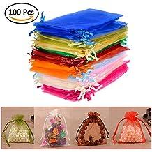 QLOUNI 100 Bolsitas de Organza Multicolores de Regalo Ideal para Decoración de la Boda,Dulces,Regalo,etc (10*15cm)