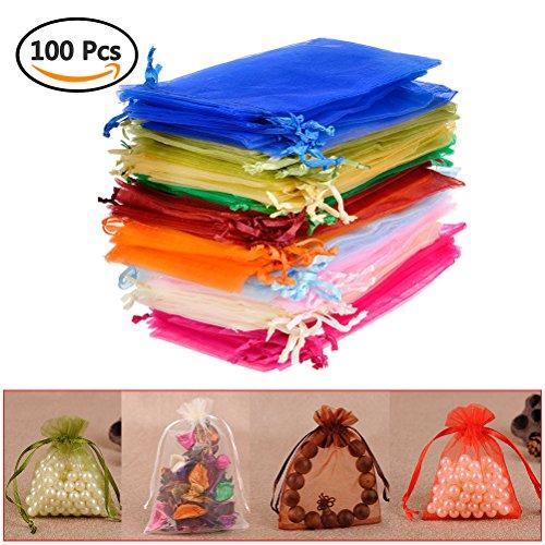 Qlouni 100 sacchetti regalo in organza multicolore ideali per decorazione di matrimoni, dolci, regali, ecc. (10 * 15 cm)