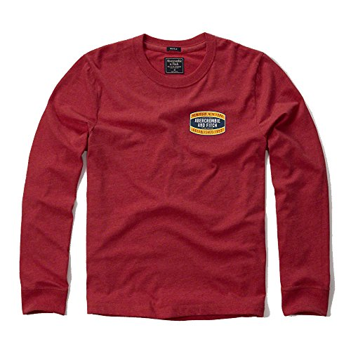 abercrombie-fitch-para-hombre-applique-logo-graphic-camiseta-de-manga-larga-en-rojo-nuevo-etiqueta-r