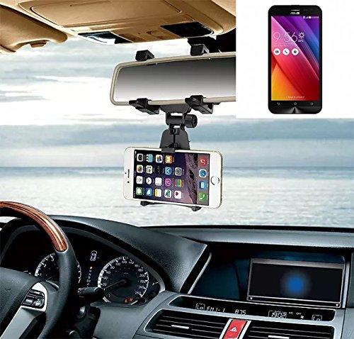 Supporto Smartphone specchietto retrovisore per Asus ZenFone 2 Laser, nero | Specchio Holder staffa auto - K-S-Trade (TM) - Guida All'acquisto Holder