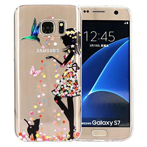 Samsung Galaxy S7 Hülle, JIAXIUFEN Weiß Marmor Serie Flexible TPU Silikon Schutz Handy Hülle Handytasche HandyHülle Etui Schale Case Cover Tasche Schutzhülle für Samsung Galaxy S7 Color37