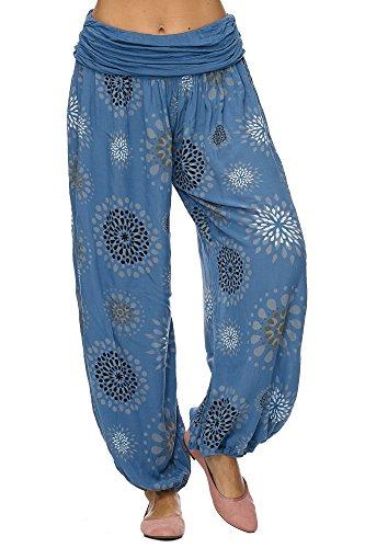 JillyMode Leichte Haremshose OneSize in viele Muster OneSize A1077 (Einheitsgröße (Gr.34-40), A1077-Kreis-Blau) (Aus Viskose Yoga-hose)