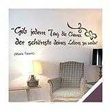 Exklusivpro Wandtattoo Spruch Wand-Worte Gib jedem Tag die Chance, der schönste deines Lebens zu werden. inkl. Rakel (zit03 aubergine) 150 x 43 cm mit Farb- u. Größenauswahl