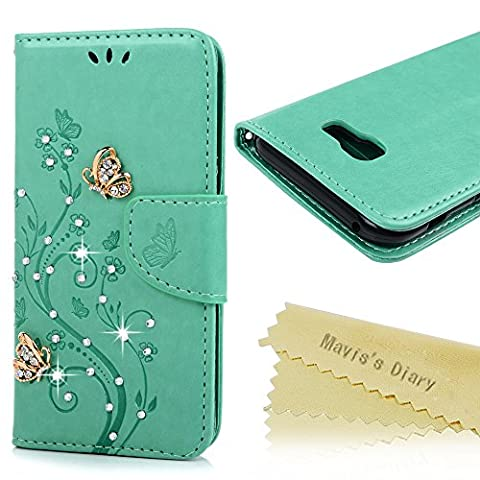 Mavis's Diary A5 2017 Case ,Samsung Galaxy A5 Bling Flip Case 2017 Model - Glitter Gems Diamonds Crystal Butterfly Wallet PU Leather Flip Cover [Chic Flower Embossed] Silicone Back Holder Case Magnetic Closure Card Slots & Stand & Wrist Strap - Mint Green (Not for 2015/2016