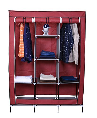Kurtzy Portable Clothes Closet Plastic Wardrobe with 6 Fancy Cabinet Organizer Rack & 2 long Durable Multipurpose Foldable Cupboard Shelves Collapsible Cabinet