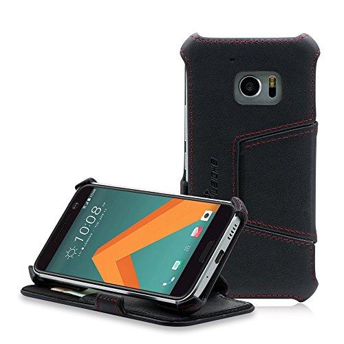 MANNA HTC 10 (One M10) Hülle, Lederhülle Tasche Handyhülle | Case aus Nappaleder mit Standfunktion | HTC 10 Schutzhülle Leder