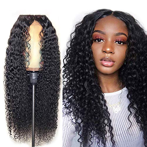 HAIR-$$ Perücken Echthaar 13x6 Lace Frontal Wigs for Black Women Brazilian Pre Plucked Lace Wig Glueless Human Curly Wigs with Baby 22 inch 180% Density Lace Front Wig (Mit Echthaar Perücken Teil)