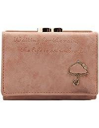 Mujeres corta botón Mini Slim embrague monedero moneda corta bolso bolso cartera rosa