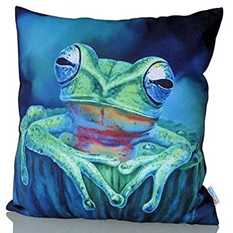 Sunburst Outdoor Living 60cm x 60cm KERMIT Green Tropical Frog Decorative Throw Pillow Cushion Cover for Couch, Bed, Sofa or Patio - Only Case, No Insert