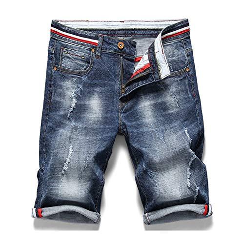 Topdco pantaloncini di jeans nuovi da uomo di moda estate slim fit elastic cotton blue wash jeans strappati jeans abiti di marca