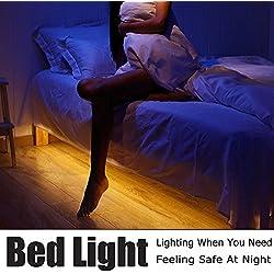 ALED LIGHT Luz de sensor de movimiento de 1.2M Luces brillantes flexibles de la noche de la cama de tira del LED encienden para arriba su dormitorio, sitio del cabrito, armario, cuarto de baño, (1.2M)