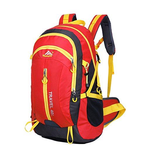 Neuer Rucksack Schultertaschen outdoor Taschen 40L wasserdicht Bergsteigen Reisetaschen Red