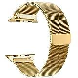 Volasal für Apple Watch Armband 42mm, Milanese Schlaufe Edelstahl Smart Watch Armbänder mit einzigartiger Magnetverriegelung für Apple Watch Armband 42mm Series 3/2/1, Gold