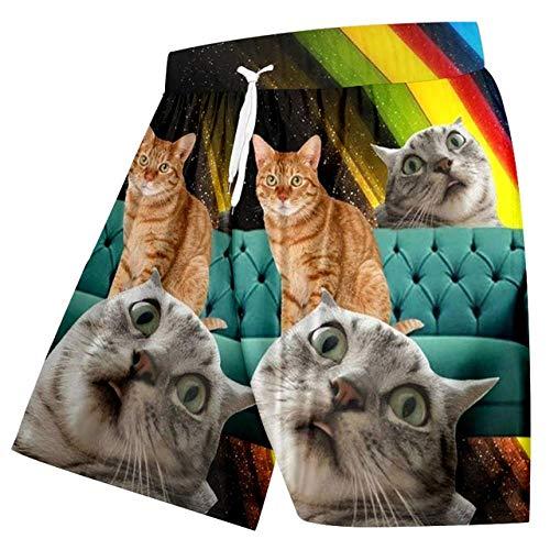 GUXCXMYBB OGKB Herren Strand Shorts 3D Print Sternenhimmel Katze Streetwear Plus Size 5XL Kostüm Herren Spring Boardshorts - Schnelle Katze Kostüm