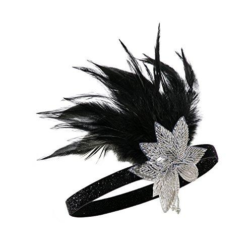 Metme 1920s Feder Stirnband 20er Jahre Stil Flapper Haarband Gatsby Stirnband Damen Kostüm Charleston Accessoires Weiße Blume + Schwarz ()
