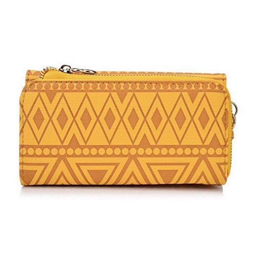 Kroo Pochette/étui style tribal urbain pour LG Spirit Multicolore - White and Orange Multicolore - jaune