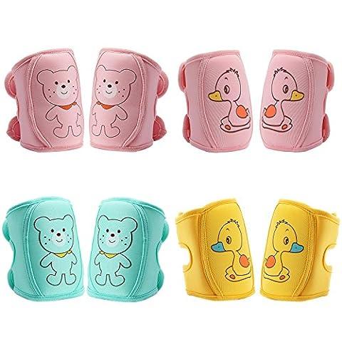 Biubee 4paires bébé Genouillères–Réglable Ramper protection de sécurité pour bébé et tout-petits