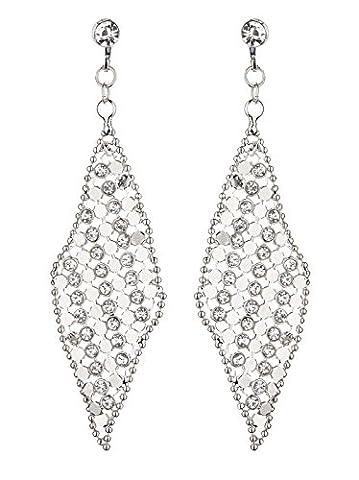Ohrclips - Versilberte mit klaren Kristallen - Daisy S von Bello London