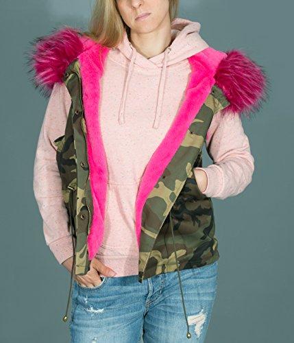 BetterStylz RikkiBZ Damen Weste XXL Kapuze Camoflage Tarnmuster Vegan Zell div. Kunstfell Farben(S-L) Wood Camo/Pink