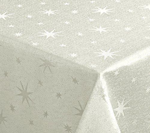 Lurex estrellas Mantel, Oro o plata brillante, Navidad Mantel Tamaño a Elegir), tejido, crema/dorado, rectangular 110 x 140 cm
