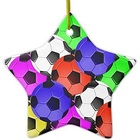 Fútbol americano o fútbol Multicolor DoubleSided adorno de Navidad de cerámica Star
