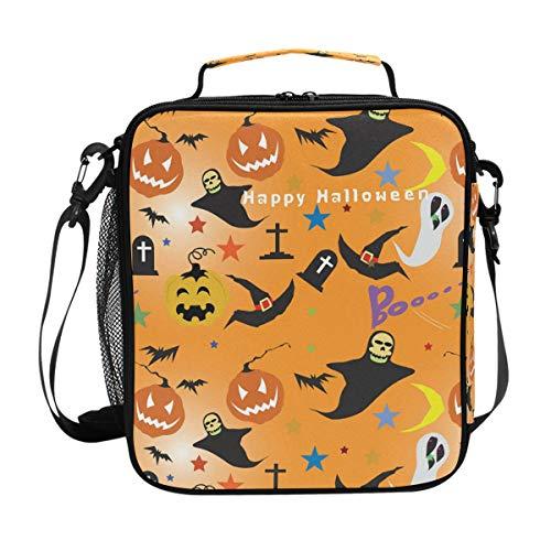 lloween Kürbis Geist Handtasche Lunchbox Lebensmittelbehälter Gourmet Bento Coole Tote Kühltasche Warm Tasche für Reisen Picknick Schule Büro ()