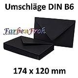 50x DIN B6 Briefumschläge // Schwarz // 174 x 119 mm // 110 g/m² // Nassklebung - Qualitätsmarke: GUSTAV NEUSER
