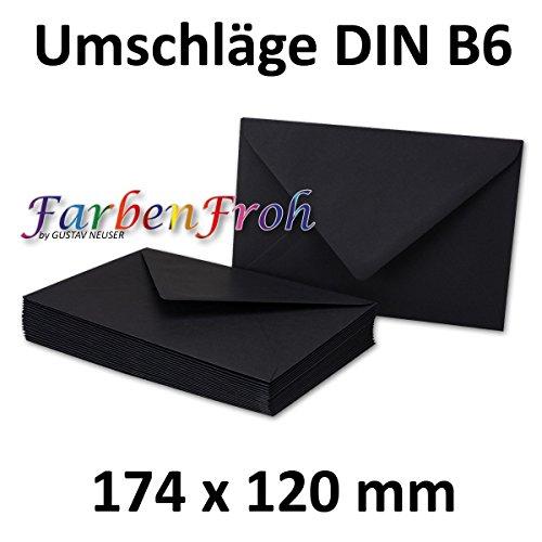 100x DIN B6 Briefumschläge // Schwarz // 174 x 119 mm // 110 g/m² // Nassklebung - Qualitätsmarke: GUSTAV NEUSER