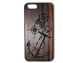 BTHEONE madera Natural tallado - iPhone 6: 6S madera caso - claro policarbonato duro con Real todos madera cubierta negro-ancla