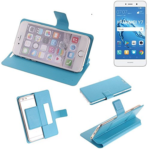 K-S-Trade Flipcover für Huawei Y7 Dual SIM Schutz Hülle Schutzhülle Flip Cover Handy case Smartphone Handyhülle blau