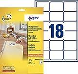 Avery 450 Etiquettes Autocollantes Amovibles (18 par Feuille) - 63,5x46,6mm - Impression Laser - Blanc (L6025REV)